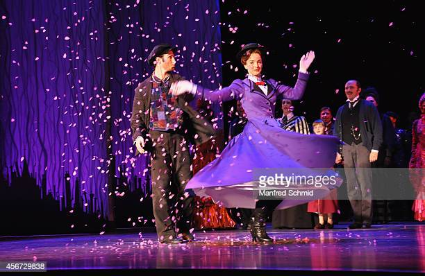 David Boyd and Annemieke Van Dam perform on stage during the Mary Poppins musical premiere at Ronacher Theater on October 1 2014 in Vienna Austria