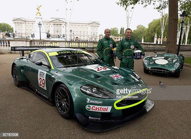 David Brabham and Darren Turner of the Aston Martin Racing team pose with their DBR9 and an original Aston Martin DBR1 at the F.I.A. GT Championship...