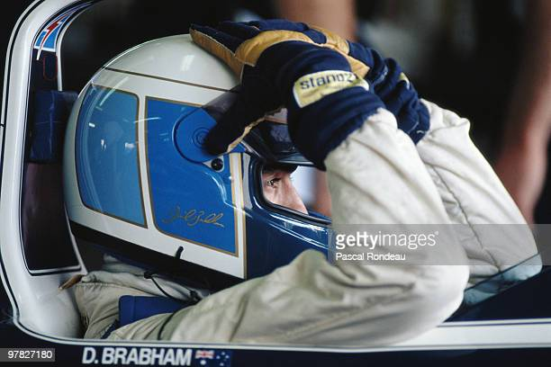 David Brabham driver of the BrabhamJudd BT59 during practice for the Mexican Grand Prix on 23 June 1990 at the Autódromo Hermanos Rodríguez in Mexico...