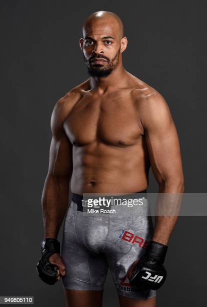 David Branch poses for a portrait backstage after his victory over Thiago Santos during the UFC Fight Night event at the Boardwalk Hall on April 21...