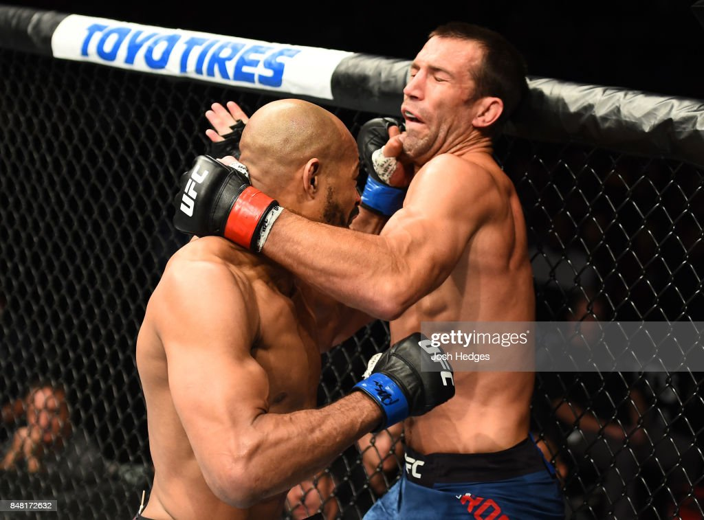 David Branch punches Luke Rockhold in their middleweight bout during the UFC Fight Night event inside the PPG Paints Arena on September 16, 2017 in Pittsburgh, Pennsylvania.