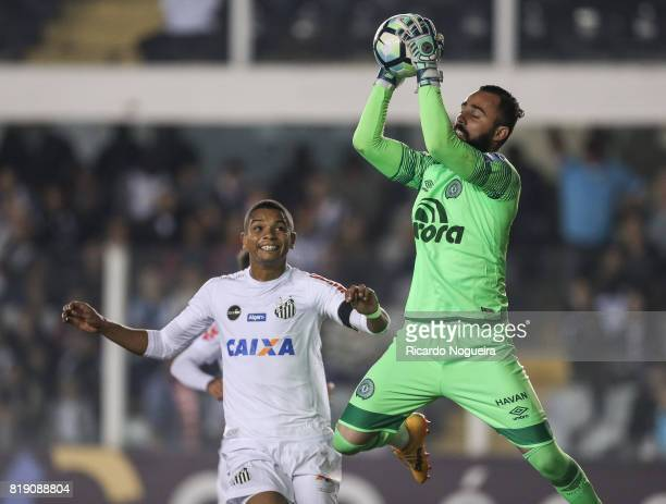 David Braz of Santos battles for the ball with Jandrei of Chapecoense during the match between Santos and Chapecoense as a part of Campeonato...