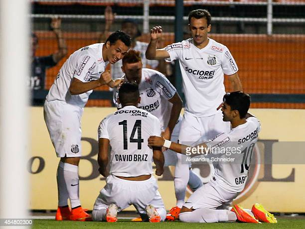 David Braz of Santos celebrates his second goal with his team mates during the match between Santos and Vitoria for the Brazilian Series A 2014 at...