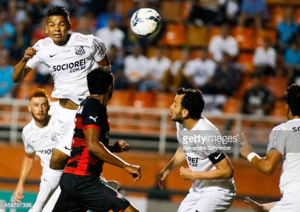 David Braz of Santos in action during the match between Santos and Vitoria for the Brazilian Series A 2014 at Pacaembu stadium on September 6 2014 in...