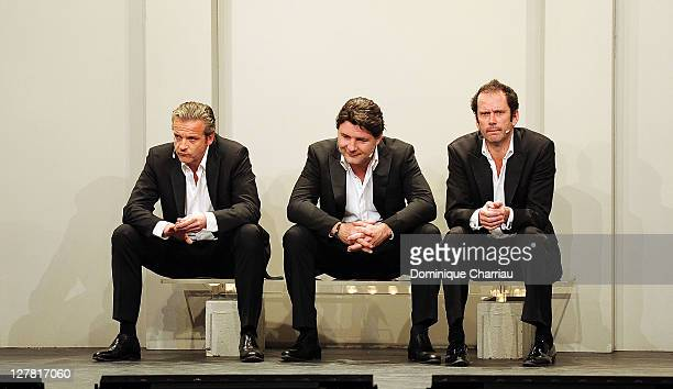 David Brecourt Philippe Lellouche and Christian Vadim perform on stage during the 27th International Festival MontBlanc Humour at 'Mont Joli' theater...