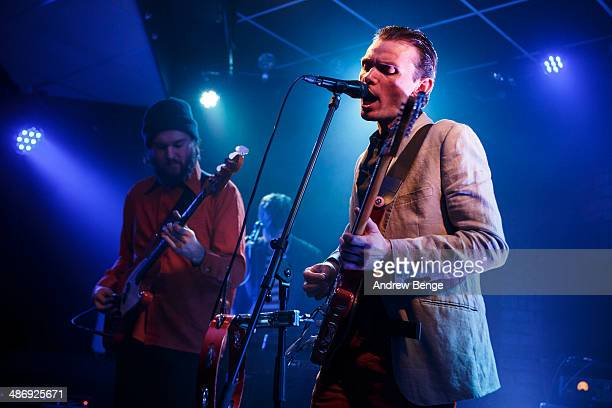David Brewis of School Of Language performs on stage at Brudenell Social Club on April 26 2014 in Leeds United Kingdom