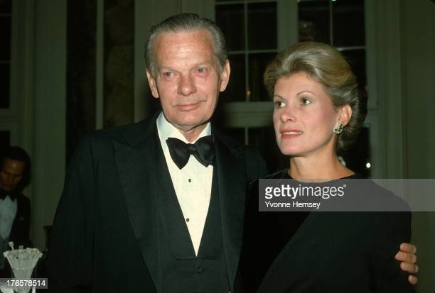 David Brinkley and his wife Susan Melanie Benfer are photographed March 9 1983 at Roone Arledge's birthday party in New York City