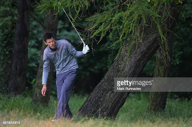 David Broadfoot of Kirkcudbright Golf Club in action from heavy rough on the 12th hole during the Golfbreakscom PGA Fourball Championship Scottish...
