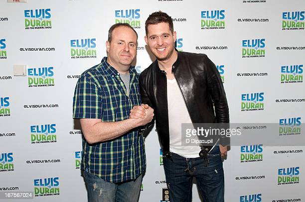 David Brody poses with Michael Buble during his visit to the Elvis Duran Z100 Morning Show at Z100 Studio on April 26 2013 in New York City