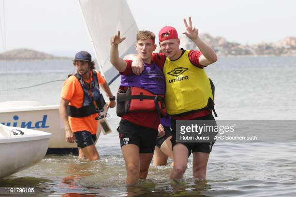 David Brooks and Aaron Ramsdale of Bournemouth during a preseason team bonding sailing session at La Manga Club on July 13 2019 in Cartagena Spain
