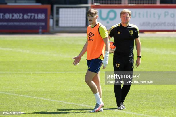David Brooks and Eddie Howe of Bournemouth during a training session at the Vitality Stadium on July 22 2020 in Bournemouth England
