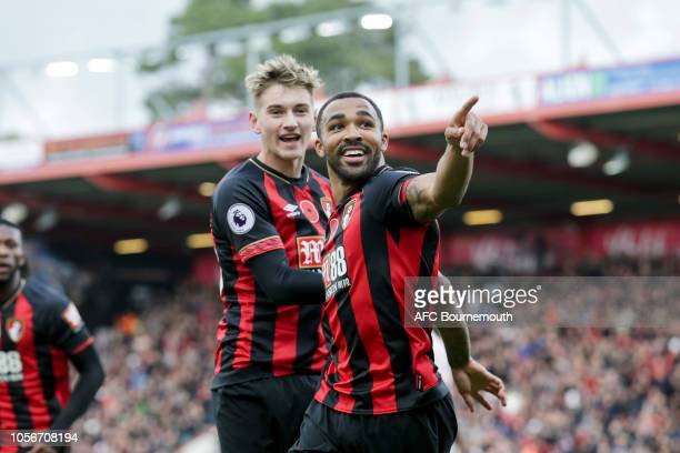 David Brooks celebrates with Callum Wilson of Bournemouth after Wilson scores a goal to make it 10 during the Premier League match between AFC...