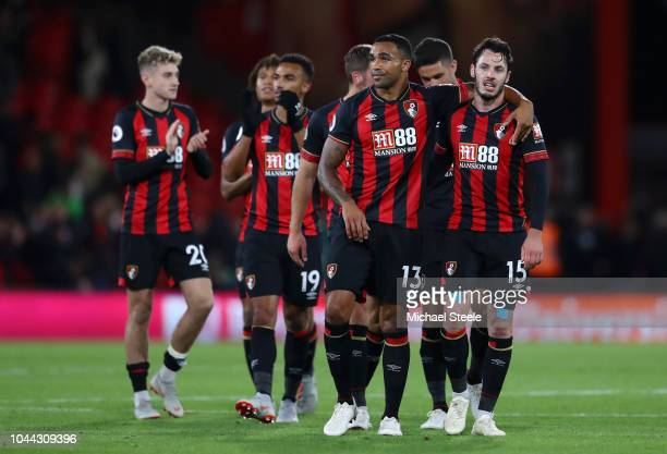 David Brooks Junior Stanislas Callum Wilson and Adam Smith of AFC Bournemouth celebrate at the full time whistle after the Premier League match...