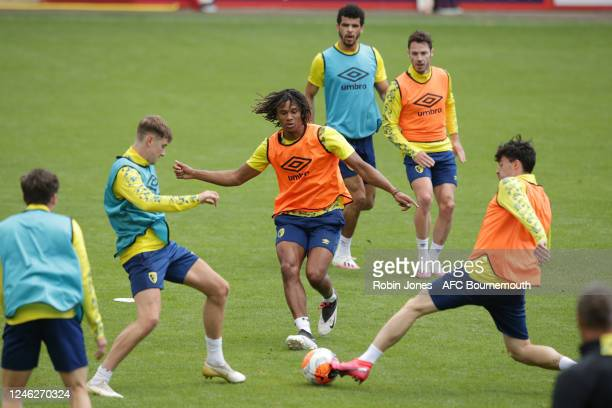 David Brooks, Nathan Ake and Diego Rico of Bournemouth during a training session at the Vitality Stadium on June 05, 2020 in Bournemouth, England.