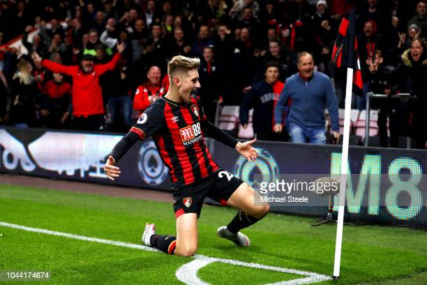 David Brooks of AFC Bournemouth celebrates after he scores his sides first goal during the Premier League match between AFC Bournemouth and Crystal...