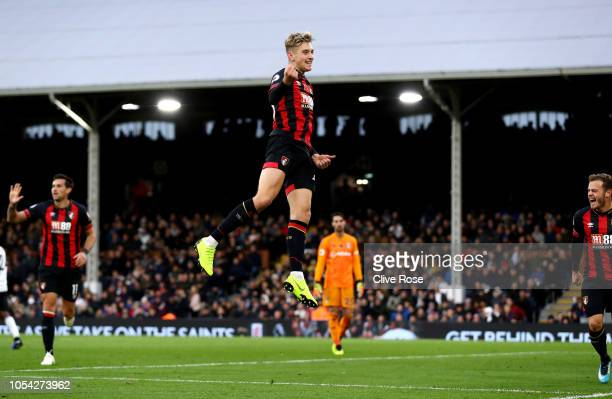 David Brooks of AFC Bournemouth celebrates after scoring his team's second goal during the Premier League match between Fulham FC and AFC Bournemouth...