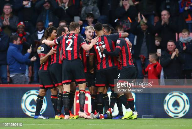 David Brooks of AFC Bournemouth celebrates after scoring his team's first goal with his team mates during the Premier League match between AFC...