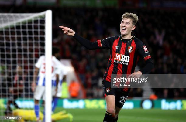 David Brooks of AFC Bournemouth celebrates after scoring his team's second goal during the Premier League match between AFC Bournemouth and Brighton...