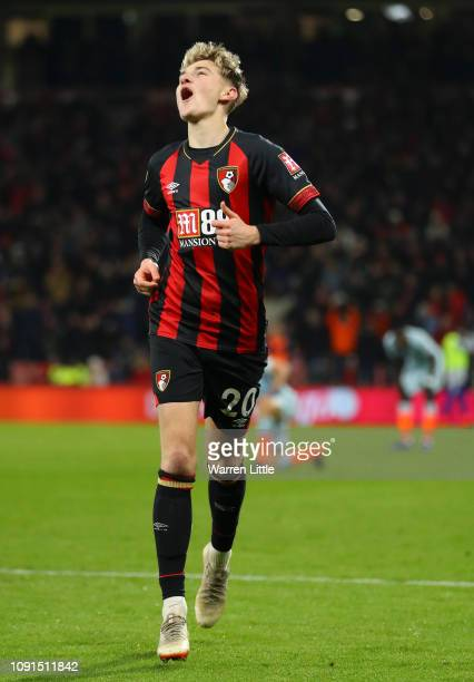 David Brooks of AFC Bournemouth celebrates after scoring his team's second goal during the Premier League match between AFC Bournemouth and Chelsea...