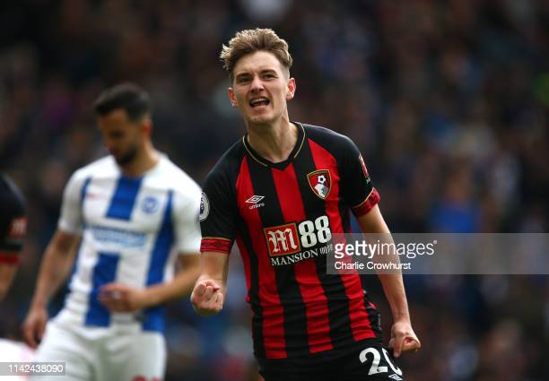 David Brooks of AFC Bournemouth celebrates after scoring his team's third goal during the Premier League match between Brighton Hove Albion and AFC...