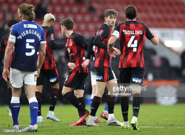 David Brooks of AFC Bournemouth celebrates with Dan Gosling after scoring his team's first goal during the FA Cup Third Round match between Oldham...