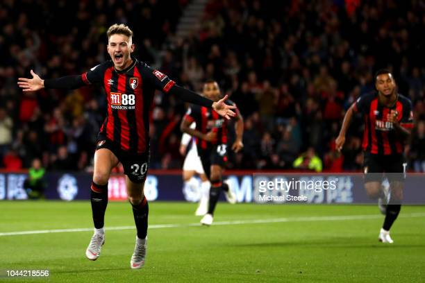 David Brooks of AFC Bournemouth celebrates with his team after he scores his sides first goal during the Premier League match between AFC Bournemouth...