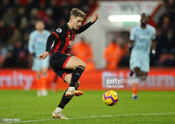 David Brooks of AFC Bournemouth controls the ball prior to scoring his team's second goal during the Premier League match between AFC Bournemouth and...