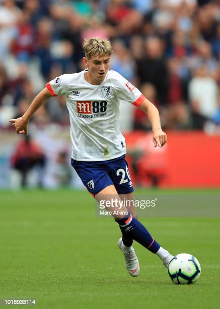David Brooks of AFC Bournemouth during the Premier League match between West Ham United and AFC Bournemouth at London Stadium on August 18 2018 in...