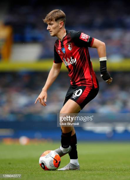 David Brooks of AFC Bournemouth in action during the Premier League match between Everton FC and AFC Bournemouth at Goodison Park on July 26 2020 in...
