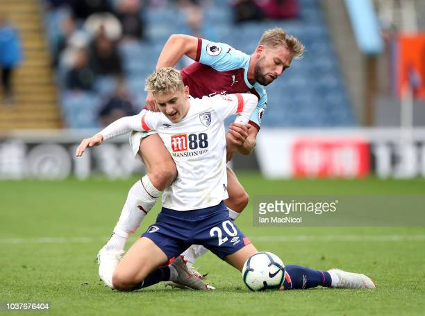 Burnley's Ashley Barnes celebrates scoring his side's third goal during the Premier League match between Burnley FC and AFC Bournemouth at Turf Moor...