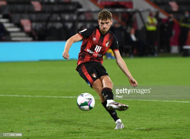 David Brooks of AFC Bournemouth scores his sides twelfth penalty in the shootout during the Carabao Cup Second Round match between AFC Bournemouth...