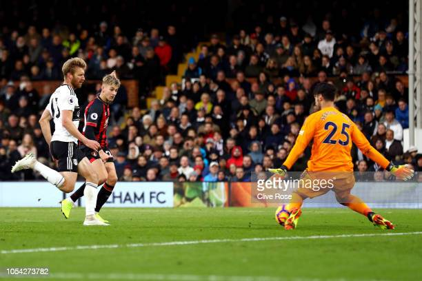David Brooks of AFC Bournemouth scores his team's second goal during the Premier League match between Fulham FC and AFC Bournemouth at Craven Cottage...