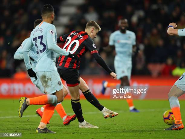 David Brooks of AFC Bournemouth scores his team's second goal during the Premier League match between AFC Bournemouth and Chelsea FC at Vitality...