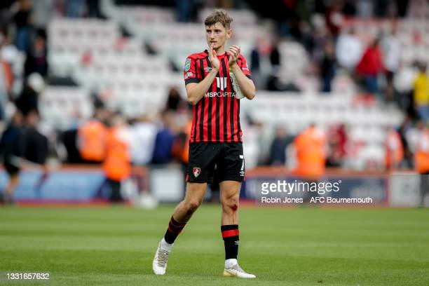 David Brooks of Bournemouth after his sides 5-0 win during the Carabao Cup 1st Round match between AFC Bournemouth and MK Dons at Vitality Stadium on...