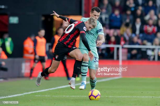 David Brooks of Bournemouth and GranitXhaka of Arsenal during the Premier League match between AFC Bournemouth and Arsenal FC at Vitality Stadium on...