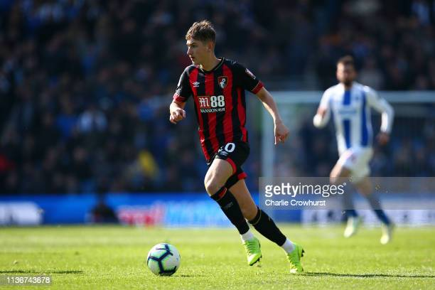 David Brooks of Bournemouth attacks during the Premier League match between Brighton Hove Albion and AFC Bournemouth at American Express Community...