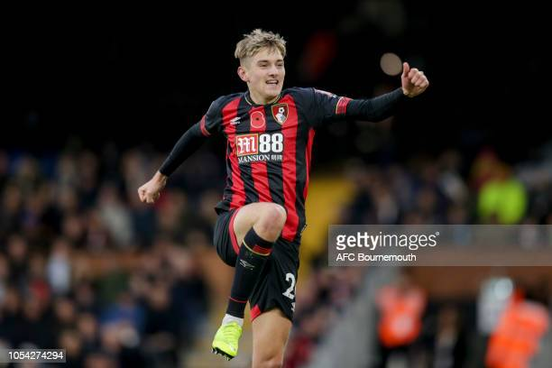 David Brooks of Bournemouth celebrates after scoring a goal to make it 20 during the Premier League match between Fulham FC and AFC Bournemouth at...