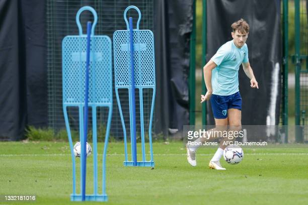 David Brooks of Bournemouth drives the ball during a pre-season training session at Vitality stadium on August 03, 2021 in Bournemouth, England.