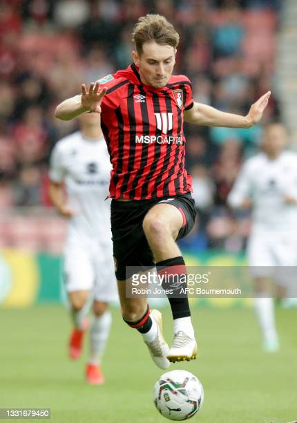 David Brooks of Bournemouth during the Carabao Cup 1st Round match between AFC Bournemouth and MK Dons at Vitality Stadium on July 31, 2021 in...