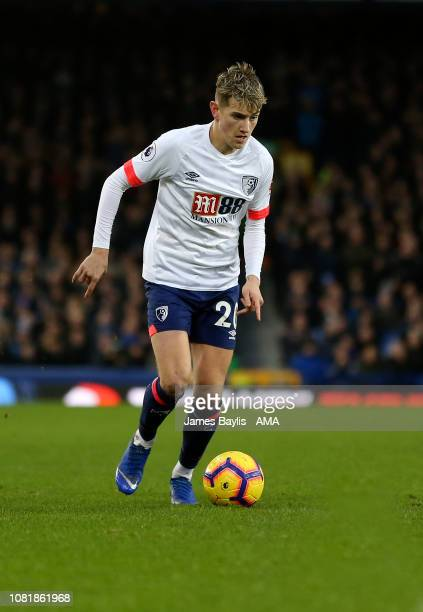 David Brooks of Bournemouth during the Premier League match between Everton FC and AFC Bournemouth at Goodison Park on January 13 2019 in Liverpool...