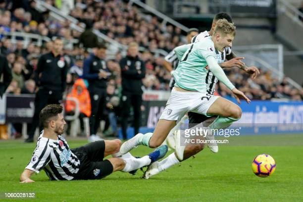 David Brooks of Bournemouth is fouled by Fabian Schar of Newcastle United during the Premier League match between Newcastle United and AFC...