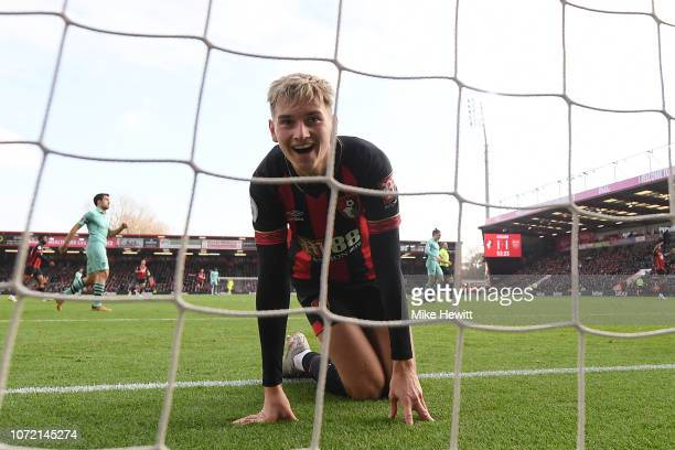 David Brooks of Bournemouth reacts during the Premier League match between AFC Bournemouth and Arsenal FC at Vitality Stadium on November 25 2018 in...
