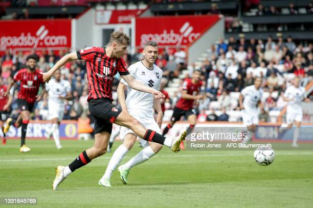 David Brooks of Bournemouth scores a goal to make it 1-0 during the Carabao Cup 1st Round match between AFC Bournemouth and MK Dons at Vitality...
