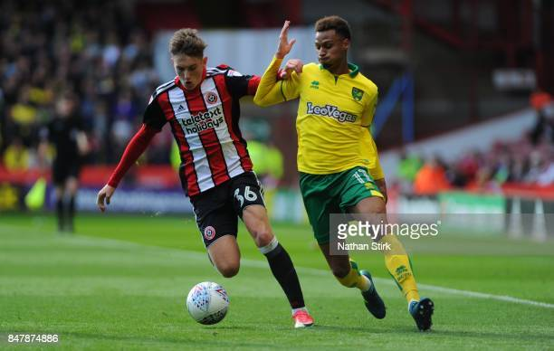 David Brooks of Sheffield United and Josh Murphy of Norwich in action during the Sky Bet Championship match between Sheffield United and Norwich City...