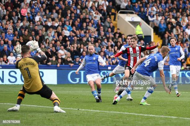 David Brooks of Sheffield United has a shot at goal during the Sky Bet Championship match between Sheffield Wednesday and Sheffield United at...