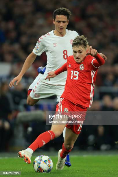 David Brooks of Wales battles with Thomas Delaney of Denmark during the UEFA Nations League B Group Four match between Wales and Denmark at Cardiff...