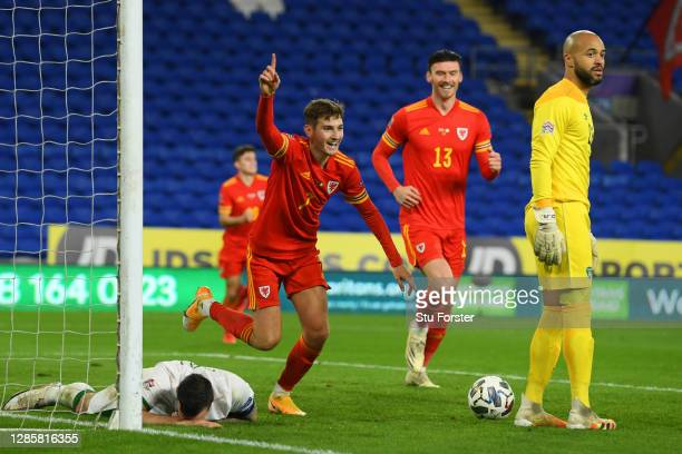 David Brooks of Wales celebrates after scoring his team's first goal during the UEFA Nations League group stage match between Wales and Republic of...