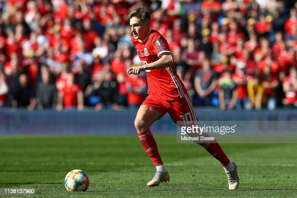 David Brooks of Wales during the 2020 UEFA European Championships qualifying group E match between Wales and Slovakia at Cardiff City Stadium on...