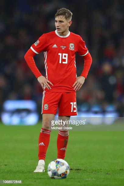 David Brooks of Wales during the UEFA Nations League B group four match between Wales and Denmark at Cardiff City Stadium on November 16 2018 in...