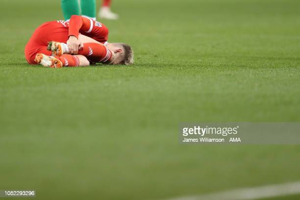 David Brooks of Wales goes down after a tackle from Kevin Long of Ireland during the UEFA Nations League B group four match between Ireland and Wales...